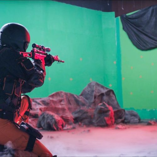 Shooting in the green screen – the light concept was set up very precisely in advance