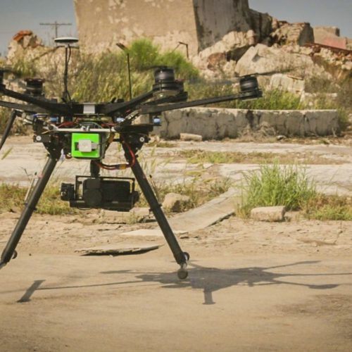 Blackmagic Pocket Camera attached to a drone in the Argentine ghost town Epecuén