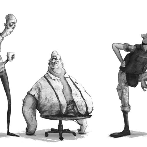 Concept Art of the three characters